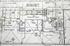 Floor plan drawing. A detail closeup view of floor plan drawing royalty free stock photo