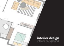 Modern design interior design background. vector illustration. floor plan web site banner. buisness card. Floor plan drawing background. interior design banner stock illustration