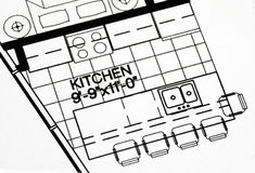 A floor plan focused on the kitchen. And dinning area Stock Photos