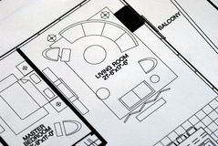 A floor plan focused on the living room. And balcony Royalty Free Stock Images