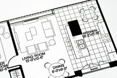 A floor plan focused on the living room. And kitchen Stock Image