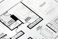 A floor plan focused on the master bedroom. A back-and-white floor plan focused on the master bedroom Royalty Free Stock Photos