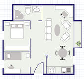 Floor plan with furniture on the paper Stock Image