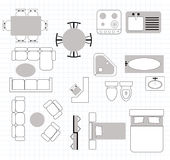 Floor plan with furniture Stock Photo