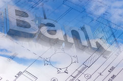 The floor plan of a house blueprint with bank sign Stock Photography