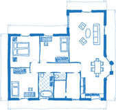 Floor plan of house, doodle style Stock Image