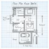 Floor plan house sketch Royalty Free Stock Photography
