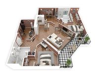 Floor plan of a house top view 3D illustration. Open concept living apartment layout. 3d model of furnished home apartment . Open concept living apartment layout royalty free illustration
