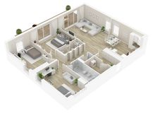 Floor plan of a house top view. Open concept living appartment layout. Floor plan of a house top view 3D illustration. Open concept living appartment layout royalty free illustration