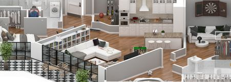 Floor plan of a house view 3D illustration. Open concept living apartment layout Stock Photo