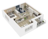 Floor plan of a house view 3D illustration. Open concept living apartment layout Royalty Free Stock Images
