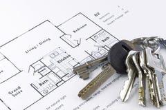 Floor plan and keys. Floor plan with a bunch of keys stock photos