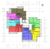 Floor plan of the living house. Drawing: typical floor plan of the multistory living house Stock Images