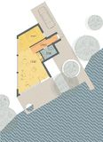 Floor plan of the living house, bungalow. Drawing: ground floor plan of the living house vector illustration