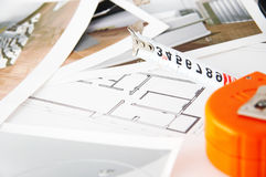 Floor plan for a new house. On designer's desk,planning for decoration royalty free stock images