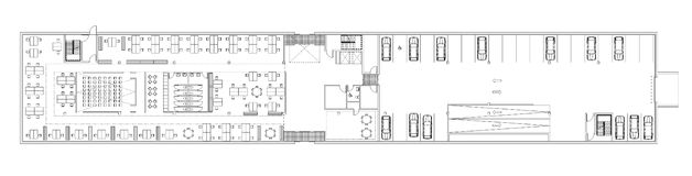 Floor plan of the office building. Architectural drawing - commercial building, open office scheme Royalty Free Stock Photo
