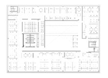 Floor plan of the office building. Architectural drawing - commercial building, open office scheme Royalty Free Stock Image