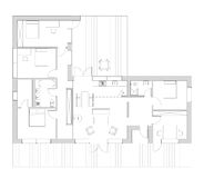 Floor plan ot the living house. Drawing: floor plan of the single family house stock illustration