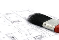 Floor Plan and Paint Brush Stock Photography