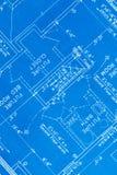 Floor Plan. Residential House Paper Blue Print Floor Plan Close Up stock photo