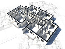 Floor plan and some blueprint. 3D image if a floor plan and some blueprint Royalty Free Stock Photography