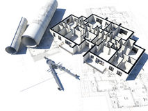 Floor plan and some blueprint. 3D image if a floor plan and some blueprint Royalty Free Stock Photos