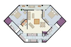 Floor plan of two-bed condo with den, furniture Stock Photos
