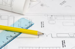 Floor plan. A floor plan with yellow pencil and ruler on the left side of the image royalty free stock images
