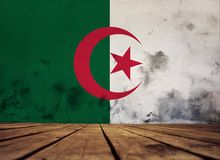 Texture of Algeria flag. The floor of planks and plastered wall with a painted Algeria flag stock photos