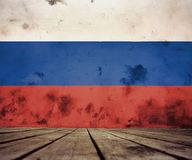 The floor of planks and plastered wall with Russian flag. The floor of planks and plastered wall with a painted Russian flag royalty free illustration