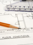 Floor Plans. Architecture Plans with pencil and ruler Stock Photography