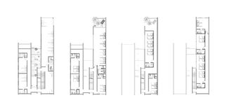 Floor plans of an architectural design. First, second, third, and fourth floor plans of a youth hostel architectural design Royalty Free Stock Photo