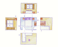 Floor plans and elevations Royalty Free Stock Photo