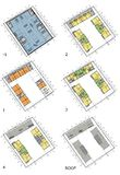 Floor plans of the living house. Drawing: typical floor plans of the multistory living house Stock Image