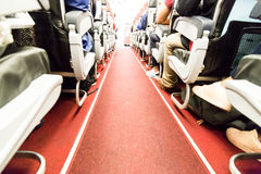 Floor proximity reflector line aids airplane evacuation under da. Rk or smoky conditions Royalty Free Stock Images