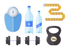 Floor scales, bottled clean water, tape for measuring waist, body. Floor scales, bottled clean water, tape for measuring waist and body volume, dumbbells for vector illustration
