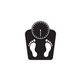 Floor scales solid icon, human footprints. Vector graphics, a filled pattern on a white background, eps 10 Stock Photos