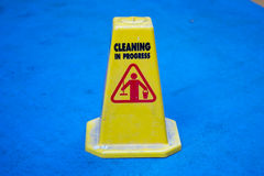 Floor sign - cleaning in progress Stock Photos