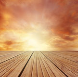 Floor and sky. Wooden floor leading to sky Royalty Free Stock Images