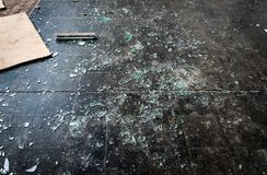 Floor of an smashed up place stock photo