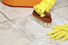 Floor scrubbing Stock Photography