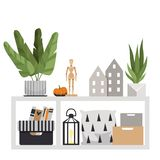 Floor table with interior items. A plant, pillows, boxes, a wooden figurine, a pumpkin, small houses and a flashlight. vector illustration