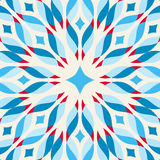 Floor tile - fantastic flower in blue and red. Vector illustration Stock Photos