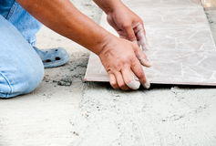 Floor Tile Installation Royalty Free Stock Images