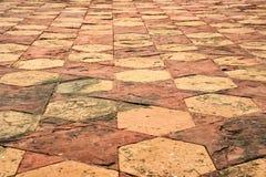Floor tile pattern at Taj Mahal in Agra, India. Close up floor tile in Taj Mahal in India for abstract background pattern Stock Photo