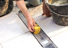 Floor tiler at work 5 Stock Photo