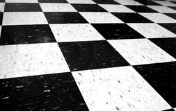 Floor tiles. Black and white checkered floor Stock Photography