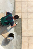 Floor tiles installation stock photography