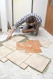 Floor tiles installation Stock Photos