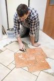 Floor tiles installation Royalty Free Stock Image